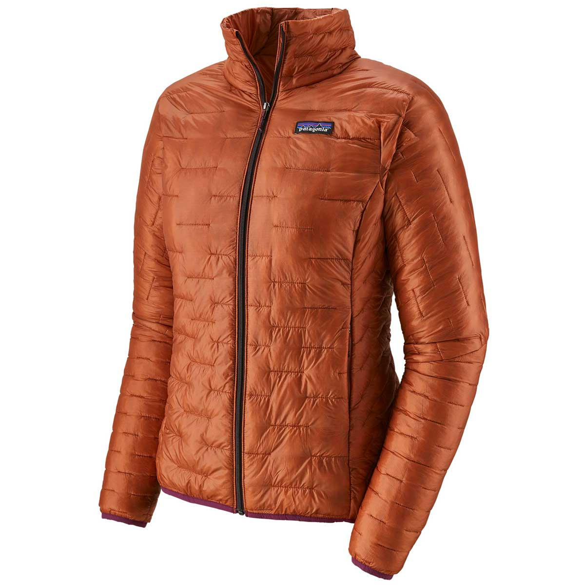 Patagonia women's Micro Puff Jacket in Sunset Orange front view